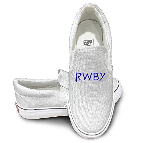 MGTER66 Anime RWBY Logo Fashion Canvas Shoes Slip On Unisex Style Color White Size 37 (Black Tough Guy Wig)