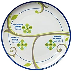 "9"" FOCUS Portion Control Plate with Bonus Side Plate-Porcelain, Plus Eat & Learn System Discs"