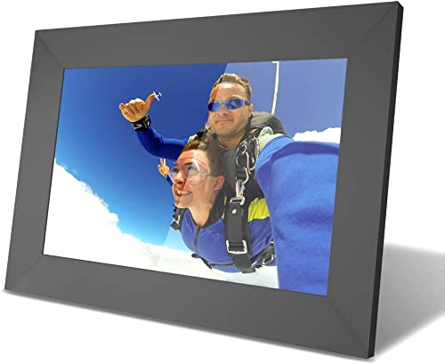 YUNTAB 10 inch Digital Picture Frame – Easy to Use for All Ages, 1280 HD Touch Screen, Instantly Share Photo by APP, Multi-User Connection, Support TF Card for 40000 Photos, Timing Start, WiFi Black