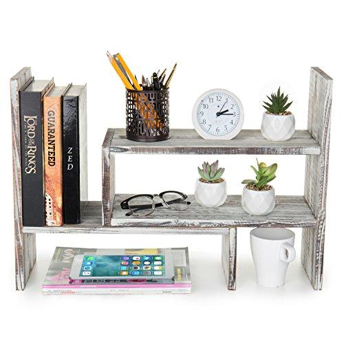 Rustic Torched Wood Adjustable Desktop Bookcase Office Organizer Shelf Rack Rustic Corner Bookcases