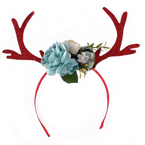 WULEEUPER Funny Deer Antler Headband with Flowers Blossom