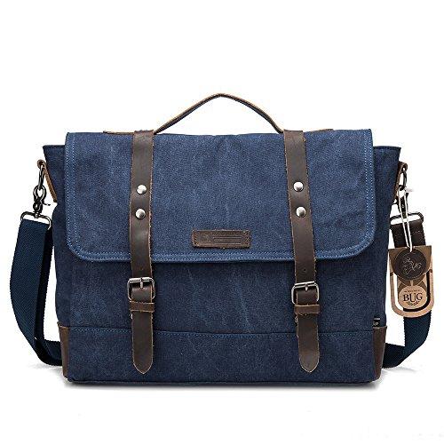 BUG Canvas Leather Trim Messenger Bag, Crossbody Briefcas...