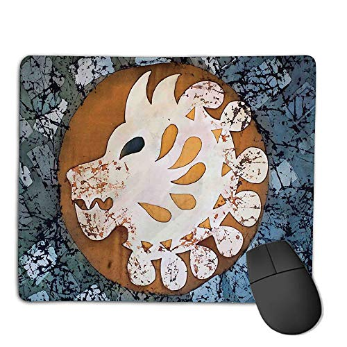 Mouse Pad Bundle Stitched Edges Premium Waterproof Mouse Mat Pad,Batik Decor,Grungy Wolf Visage Head in a Rounded Full Moon Form Night Knight Esoteric Image,Multi,Consoles More Enjoy Precise & Smoo
