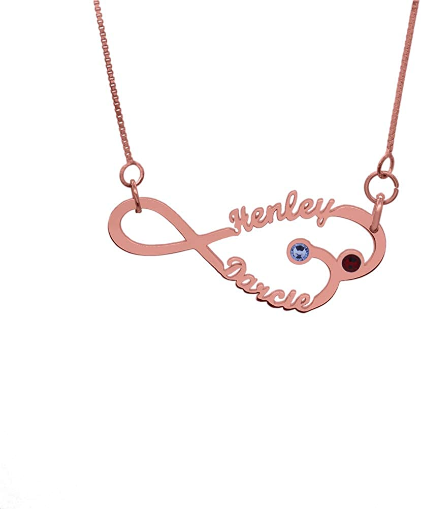 FACOCO Fashion Name Custom Infinity Necklace Personalized Birthstone Name Necklace Birthday Gift