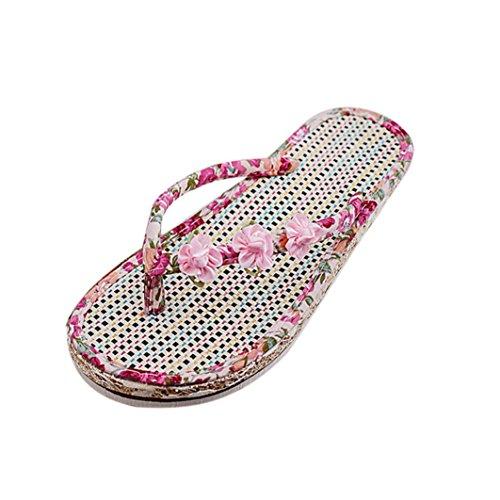 Saingace Damen Sommer Peep-Toe Low Schuhe Römische Sandalen Damen Flip Flops Rosa