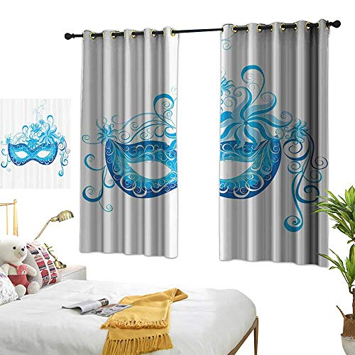 bedroom curtains Masquerade Decorations Collection,Venetian Mask Majestic Impersonating Enjoying Halloween Theme Image Print,Navy Turquoise 72