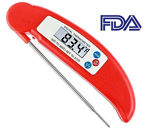 AFORTLO Meat Thermometer,FDA Instant Read Digital Food Cooking Themometer with LCD Display&Foldable Probe for Kitchen, BBQ,Barbecue,Grilling, Candy, Milk, Grill Smoker,Tea(Red) Apollo Display