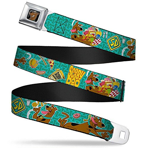 Scooby Doo Face Full Color Black Seatbelt Belt - Scooby Doo & Snacks/Bone Monogram Blues Webbing REGULAR -