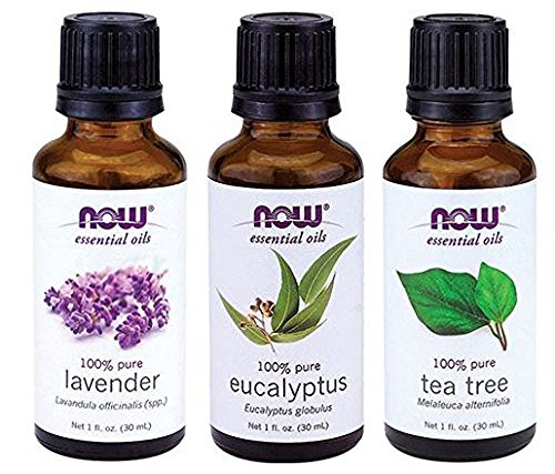 3-Pack Variety of NOW Essential Oils: Tea Tree, Eucalyptus, Lavender
