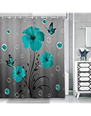 Rustic Teal Floral Shower Curtain for Bathroom, Farmhouse Turquoise Blue Flower with Butterfly Fabric Shower Curtains Set with Hooks, Vintage Country Cute Bubbles Modern Gray Bathroom Curtain, 69X70in