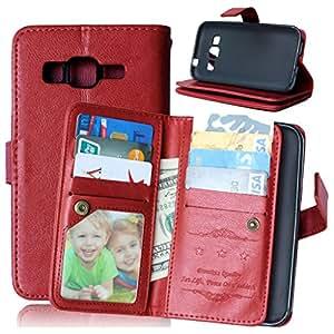 TOMYOU Carcasa para Samsung Galaxy Core Prime G360-Funda de piel sintética con tapa, cable incluido Syncwire Marco de fotos [], [], [] y Bolso de mano tipo libro con función atril para Samsung Galaxy Core Prime G360 (G3606 G3608) () marrón
