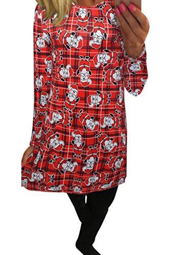 Flared New Line Christmas Dress A 8 Women's Print Santa LaSuiveur Pullover Claus qROZBwxY