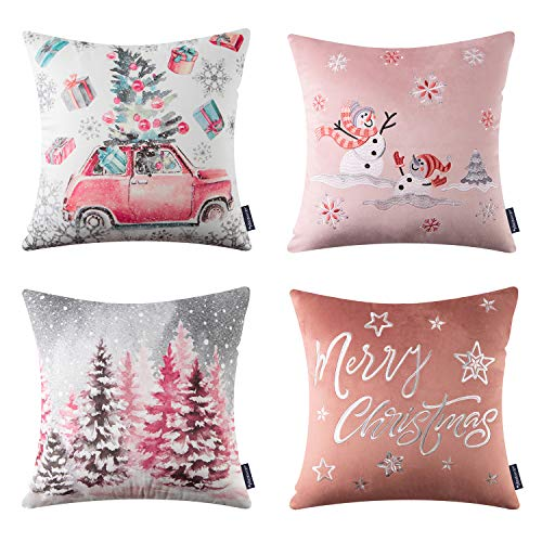 Phantoscope Set of 4 Merry Christmas Decorative Print and Embroidery Velvet Throw Pillow Covers Snowman, Star, Snowflake…