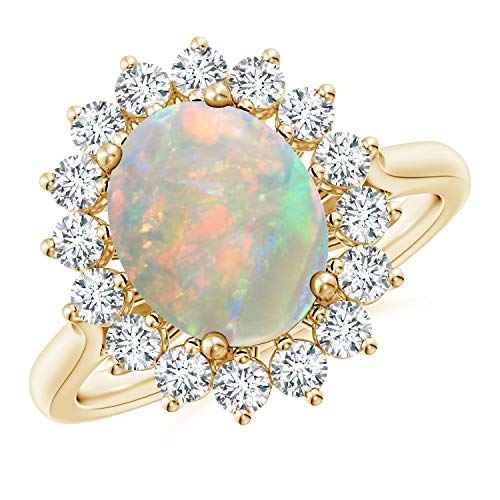 Oval Opal Ring with Floral Diamond Halo in 14K Yellow Gold (10x8mm Opal) ()