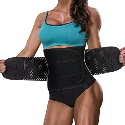 Line Girdle (Hourglass Waist Trainer Trimmer Slimming Belt - Hot Neoprene Sauna Sweat Belly Band Body Shaper Weight Loss Back Support Sport Girdle (Black, S (Waistline 26.4''-29.1'')))