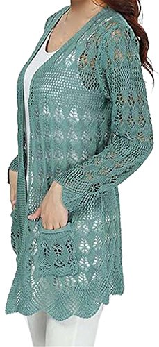 Tirahse Fashionable Women Fashion Korean Hollow Long Sleeve Knitting Cardigans 14One-Size (2)