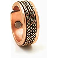 Shinde Exports copper magnetic ring pure adjustable stylish for men and women 8mm