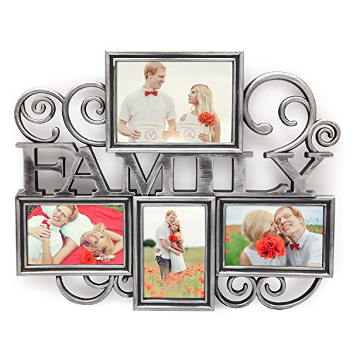 "Adeco 4 Openings Antqiue Silver ""FAMILY"" Filigree Wall Hangi"