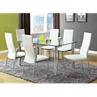 Furniture of America Novae 7-Piece Dining Set with White Chairs