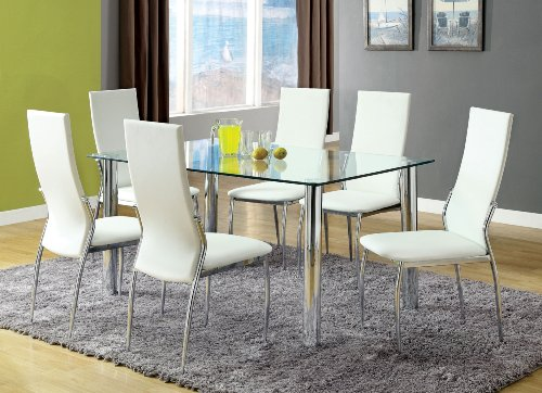 Furniture of America Novae 7-Piece Dining Set with White Chairs (6 Glass White Dining Chairs And Table)