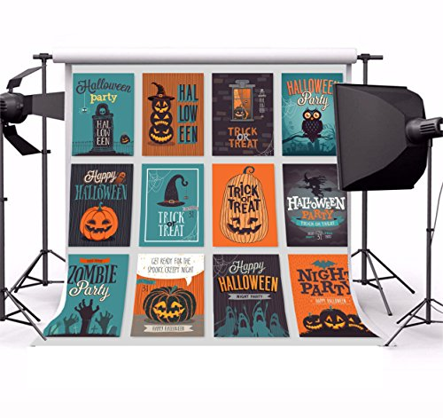 (Laeacco Vinyl 5x5ft Photography Background Halloween Hand Drawn Invitation Greeting Cards Set Background Halloween Party Poster Grimace Pumpkins Trick or Treat Ghost Bat Decorated Backdrop)