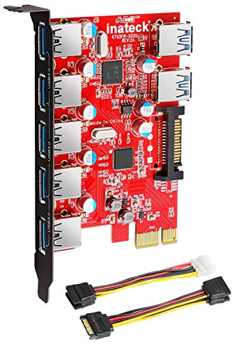 Inateck Superspeed 7 Ports PCI-E to USB 3.0 Expansion Card - 5 USB 3.0 Ports and 2 Rear USB 3.0 Ports Express Card Desktop with 15 Pin SATA Power Connector, -