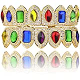 Saint Design Fang CZ 8 Teeth Grillz 5X Layered 14k Real Gold Filled ICY Vampire Colored gems Hiphop Top and Bottom Grillz Set