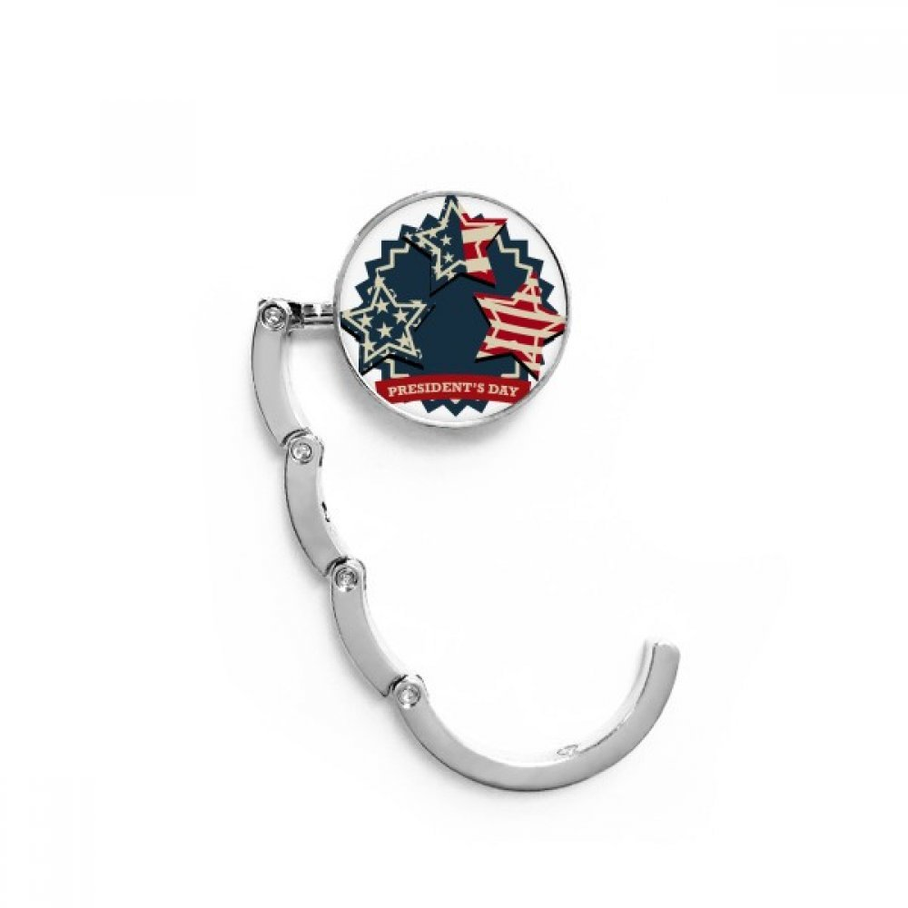 USA President Flag Festival Celebration Table Hook Folding Bag Desk Hanger Foldable Holder