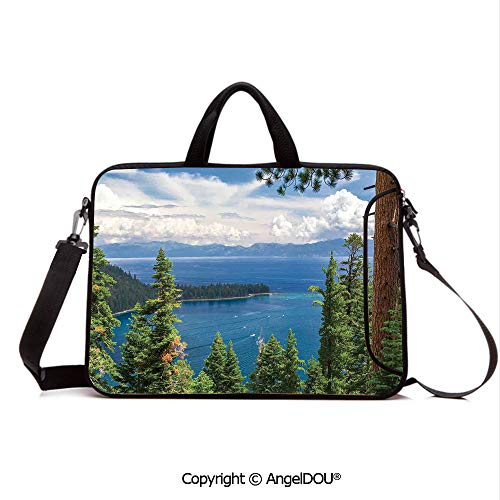 AngelDOU Customized Neoprene Printed Laptop Bag Notebook Handbag Aerial Image of Majestic Asian Lake Above Trees and Mountain in The Horizon Art Compatible with mac air mi pro/Lenovo/asus/acer Gr