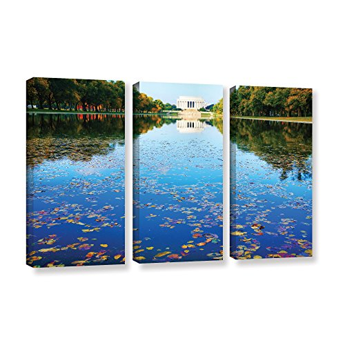 ArtWall 3 Piece Steve Ainsworth's Lincoln Memorial and Reflecting Pool I Gallery Wrapped Canvas Set, 36 x 54