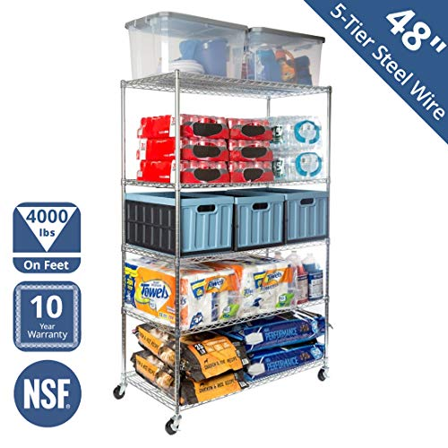 "Seville Classics WEB564 UltraDurable Commercial-Grade 5-Tier NSF-Certified Steel Wire Shelving with Wheels, 48"" W x 24"" D x 72"" H, Chrome from Seville Classics"