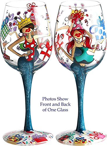 Bottom's Up 15-Ounce Happy Birthday Handpainted Wine Glass