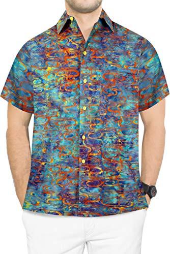 LA LEELA Men's Club Hawaiian Shirt Short Sleeve Work Casual Shirt S Blue_W634
