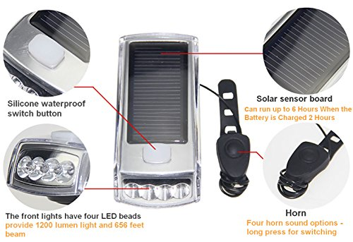 Ultra Bright Bicycle Lights Set - Front Headlights & Horn & Back Taillights, Two(Solar and USB)-in-One Rechargeable LED Bike Front Lights, Waterproof & Safety Road, 1200mAH/1200 Lumens Head Lights. by Juxical (Image #1)