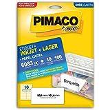 Etiqueta Ink-Jet/Laser Carta 50, 8X101, 6 6083 Pimaco, Bic, 874790, Branca, Pacote De 10