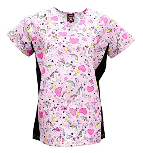 Medical Nursing Scrubs - Divine Scrubs Women's Medical Nursing Stretch Top Patterned Multi Pocket Uniform Shirt (Unicorn Rainbow Heart Pink, X-Large)