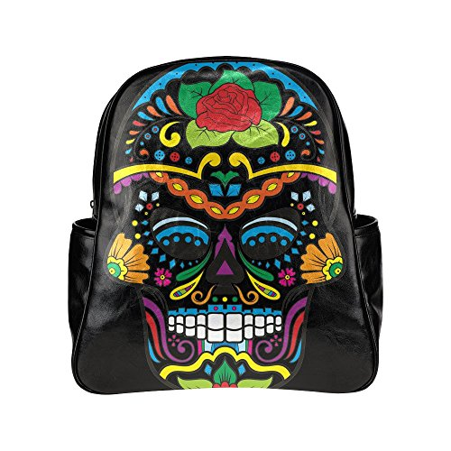 Custom-Sugar-Skull-Mexico-PU-Leather-Student-School-Bag-Multi-pocket-Backpack