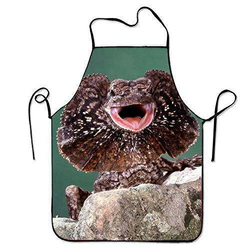 - Zhixiap Animal Frilled Neck Lizard Chef Kitchen Cooking and Baking Bib Apron for Women and Men