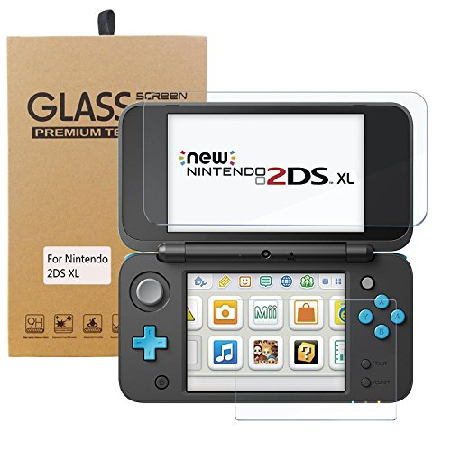 Price comparison product image New Nintendo 2DS XL Screen Protector,  HEYSTOP Tempered Glass Screen Protector for Nintendo 2DS XL 2017 [ 0.2MM,  2.5D Round Edge,  Anti-Fingerprint,  Bubble Free ]