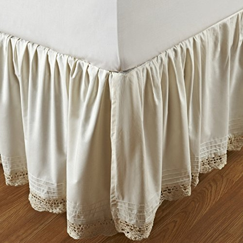 Be-you-tiful Home Bella Crochet Bed Skirt, Queen, Ivory