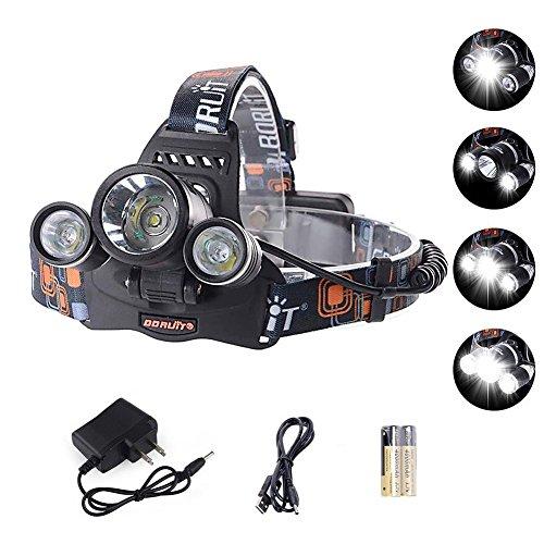 GHB Headlamp LED Headlamp Cree XM L T6 6000LM Flashlight 3x LED 4 Modes Headlamp for Camping Hiking Hunting