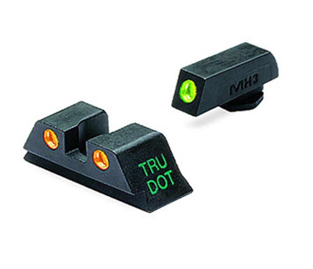 Meprolight Glock Tru-Dot Night Sight for 9mm, .357 Sig, .45 S&W . 45 GAP. Fixed Set. Orange Rear Sight with Green Front Sight