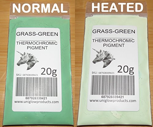 - 20g of Thermochromic Temperature Activated Pigment - Grass Green. Multiple Colors - Heat Sensitive Color Changing Powder for Paint, Nail Polish, Ink, Screen Printing, Fabric Art, Ceramics, and More