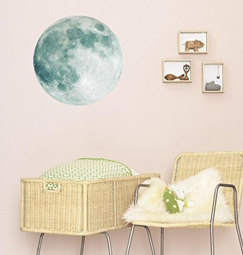 Coohole Hot Colorful Creative Diameter 40 cm Moon Lunar Wall Stickers Bedroom Living Room Decors (Green)