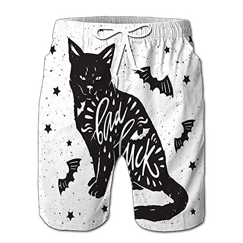 Black Cat Bat Quote Bad Luck Happy Halloween Drawstring Shorts Beach Baskestball Pants S ()
