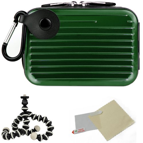 Metallic Pascal Hardshell Aluminum Cube Case (Green) For Canon PowerShot HS ELPH IXY SD IS Point And Shoot Camera + Screen Protector + Mini Tripod