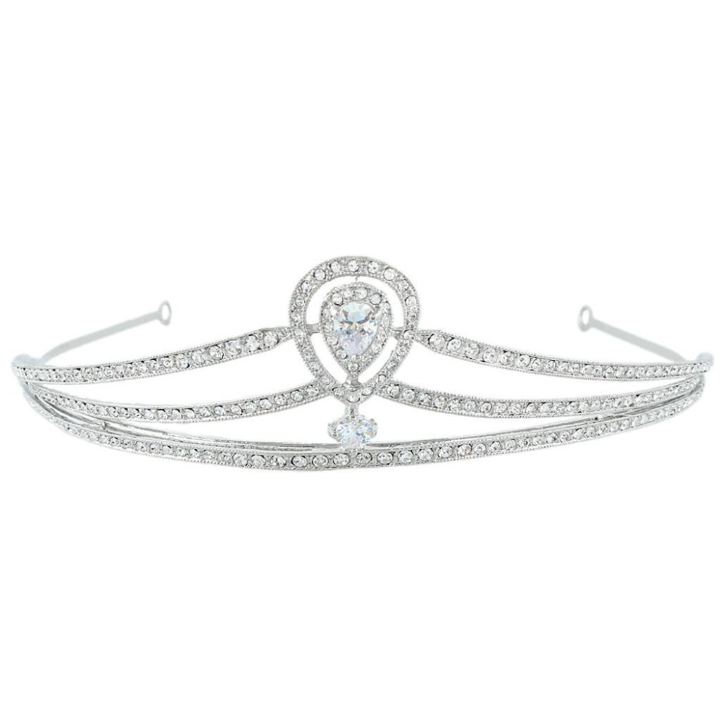 Ever Faith Wedding Teardrop Royal Hair Crown Tiara Bridal Headband CZ Crystal Silver-Tone N04295-1