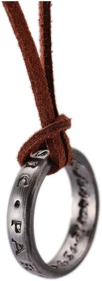 Ciondolo Anello Unisex Con Catena in Pelle Regolabile Cord 13-18 collana Cord Sospensione Regolabile