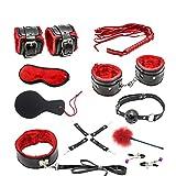 10 Pcs Set Bondage Fetish Restraints Adult Sex Toys for Woman Slave Handcuffs Fun Games Nipple Clamps Whip Sex Shop Black