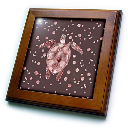 3dRose Andrea Haase Animals Illustration - Sea Turtle In Rose Gold Glitter And Glamour Style - 8x8 Framed Tile (ft_274790_1) by 3dRose